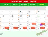 Lịch nghỉ Tết dương lịch và Tết âm lịch năm 2017 là mấy ngày?